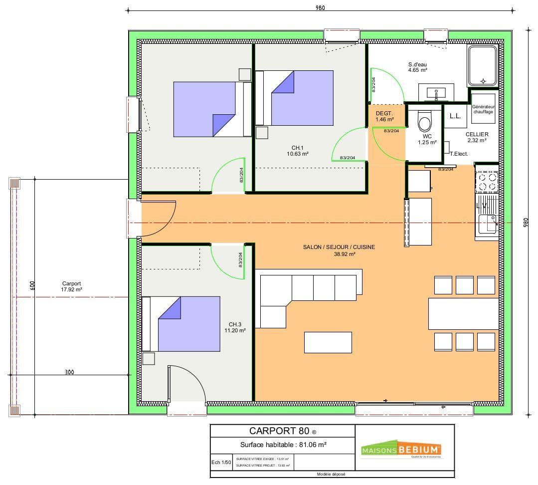 Maison plain pied 80 m2 3 chambres prix cl en main - Plans maisons plain pied 3 chambres ...