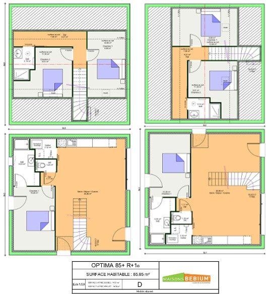 Maison 80 M2 Plain Pied Plans Prix Maisons Bebium