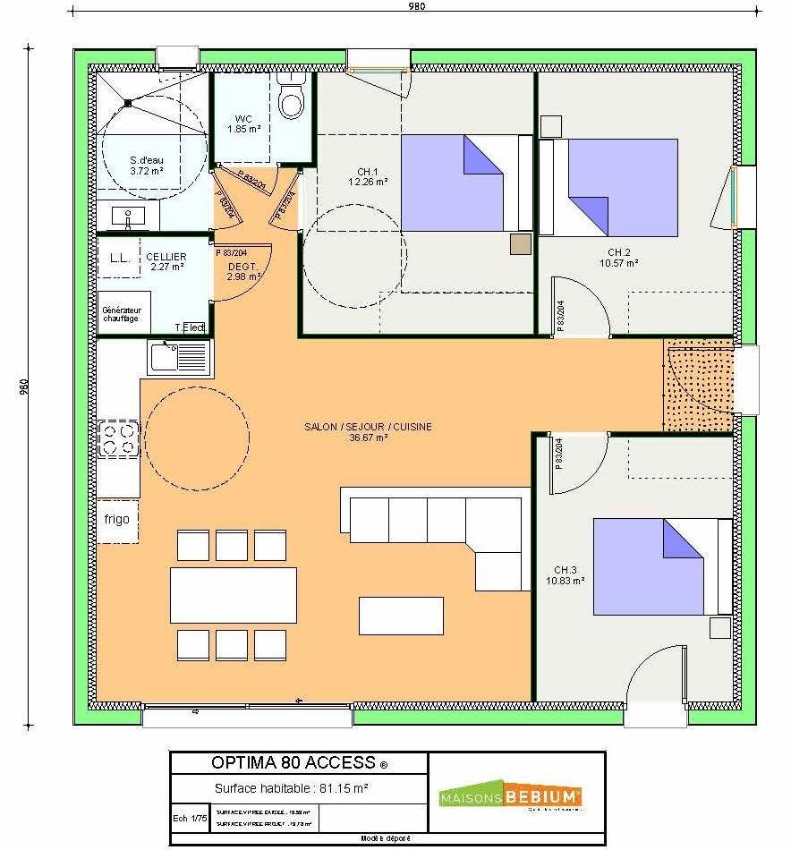 Maison Plain Pied 80 M2 3 Chambres Prix Clé En Main