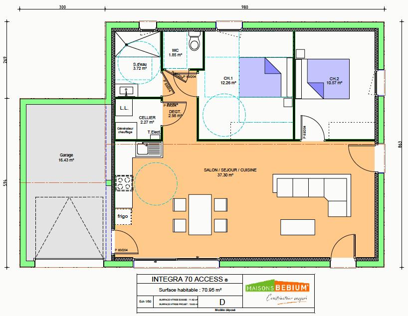 Maison 70 M2 Plain Pied Neuve Prix Cle En Main Maisons Bebium